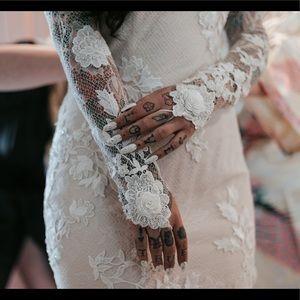 Lace blush and white wedding dress